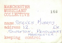 Membership card for Manchester Musicians Collective